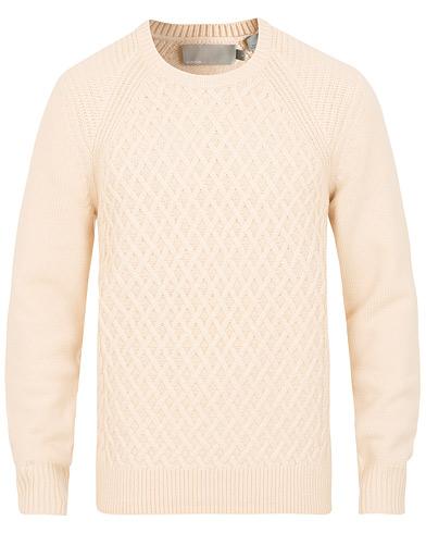 Vince Fisherman Cable Crew White i gruppen Klær / Gensere / Strikkede gensere hos Care of Carl (15091011r)