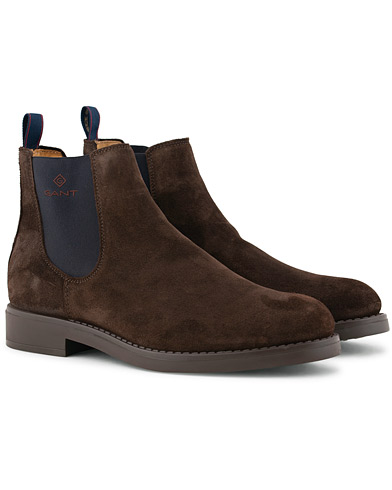 GANT Oscar Chelsea Boot Dark Brown Suede i gruppen Skor / Kängor / Chelsea boots hos Care of Carl (15104411r)