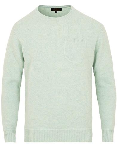 Wacay Sundom Lambswool Sweater Misty Green Melange i gruppen Klær / Gensere / Strikkede gensere hos Care of Carl (15129411r)