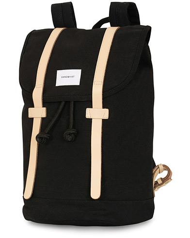 Sandqvist Stig 100% Organic Cotton Canvas Backpack Black/Tan  i gruppen Assesoarer / Vesker / Ryggsekker hos Care of Carl (15139810)