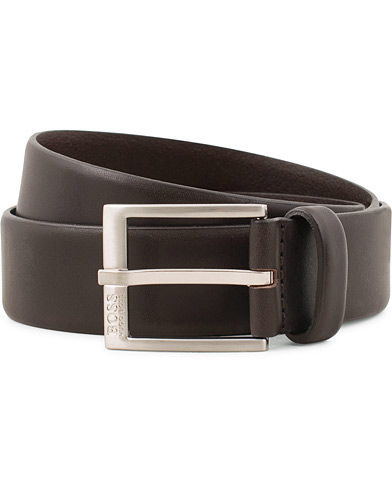 BOSS Erron Leather 3,5cm Belt Dark Brown i gruppen Accessoarer / Bälten / Släta bälten hos Care of Carl (15145811r)