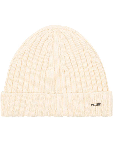 BOSS T-Eraffalero Cashmere Ribbed Hat Open White  i gruppen Tilbehør / Huer hos Care of Carl (15146010)