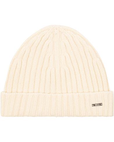 BOSS T-Eraffalero Cashmere Ribbed Hat Open White  i gruppen Accessoarer / Mössor hos Care of Carl (15146010)