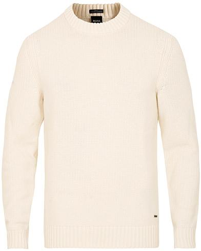BOSS Elessandro Lambswool Knitted Crew Neck Open White i gruppen Klær / Gensere / Strikkede gensere hos Care of Carl (15150311r)