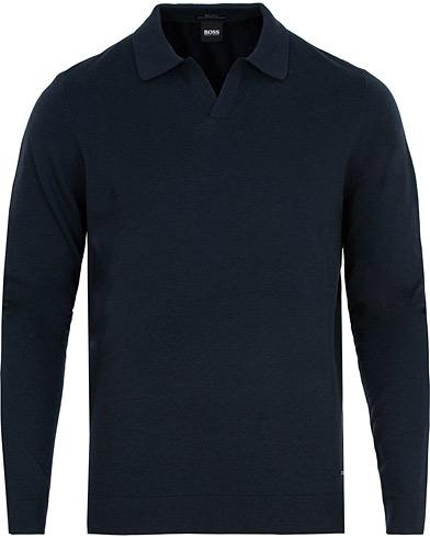 BOSS Ecladiuo Wool/Cotton/Cashmere Pullover Dark Navy i gruppen Klær / Gensere / Strikkede pikéer hos Care of Carl (15150411r)