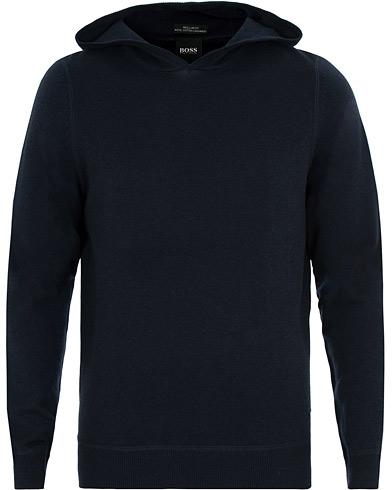 BOSS Efabio Wool/Cotton/Cashmere Hoodie Dark Navy i gruppen Klær / Gensere / Hettegensere hos Care of Carl (15150511r)