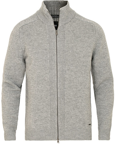 BOSS Erinaldo Lambswool Full Zip Light Grey Melange i gruppen Klær / Gensere / Zip-gensere hos Care of Carl (15150711r)