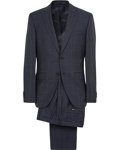 BOSS Johnstons/Lenon Check Wool Suit Open Blue i gruppen Klær / Dresser / Todelte dresser hos Care of Carl (15151711r)