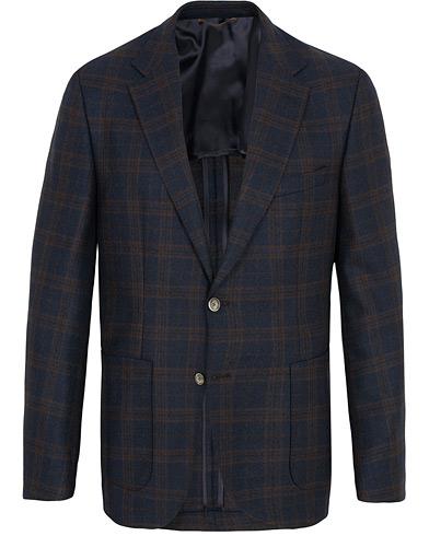 BOSS Janson Check Wool Blazer Navy i gruppen Tøj / Blazere & jakker / Enkeltradede blazere hos Care of Carl (15152211r)
