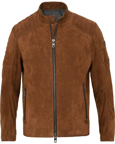 BOSS Casual Jaydee Biker Jacket Dark Brown Suede i gruppen Kläder / Jackor / Skinnjackor hos Care of Carl (15154211r)