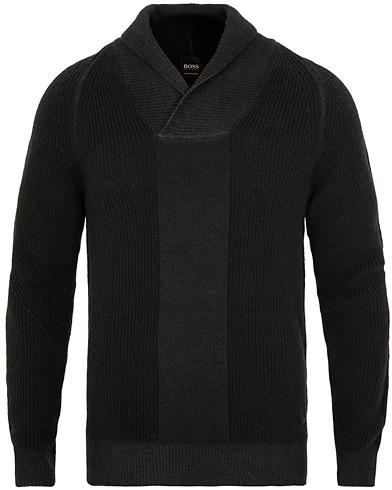 BOSS Casual Afoirbos Shawl Knitted Sweater Black i gruppen Klær / Gensere / Strikkede gensere hos Care of Carl (15154911r)