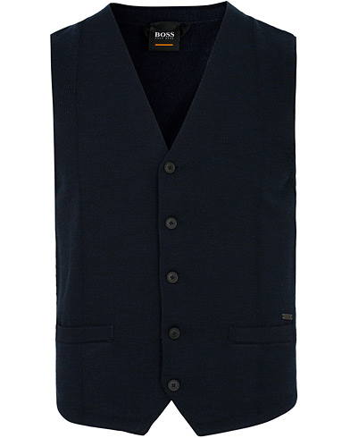 BOSS Casual Aklapy Sweat Vest Dark Blue i gruppen Klær / Gensere / Cardigans hos Care of Carl (15155111r)