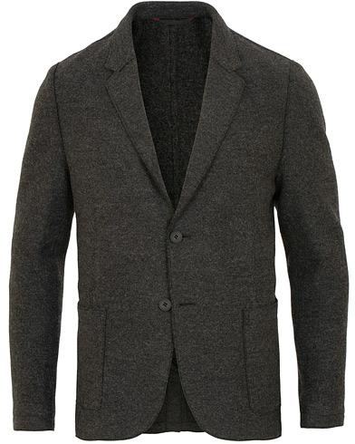 HUGO Agaltu Wool Raw Edge Blazer Dark Grey i gruppen Klær / Dressjakker / Enkeltspente dressjakker hos Care of Carl (15159411r)