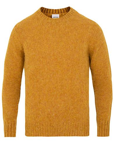 Aspesi Crew Neck Shetland Sweater Yellow i gruppen Klær / Gensere / Strikkede gensere hos Care of Carl (15162811r)