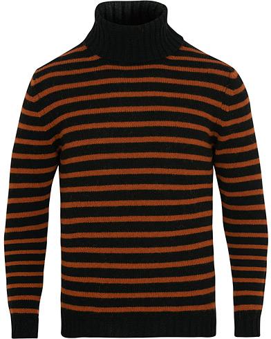 The Gigi Casimir Multistripe Turtleneck Wool Sweater Black/Orange i gruppen Tøj / Trøjer / Rullekravetrøjer hos Care of Carl (15164511r)