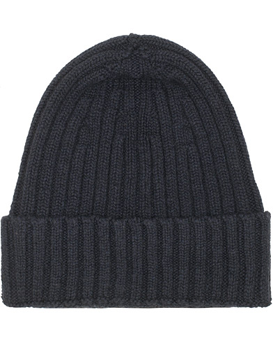 Stenströms Cashmere/Cotton Ribbed Beanie Navy  i gruppen Assesoarer / Luer hos Care of Carl (15184310)