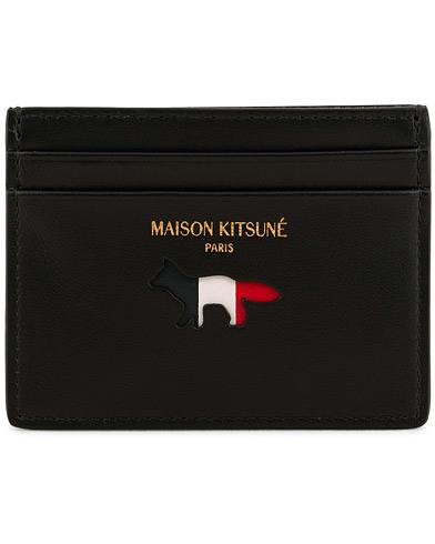 Maison Kitsuné Tricolor Card Holder Black Leather  i gruppen Assesoarer / Lommebøker / Kortholdere hos Care of Carl (15200210)