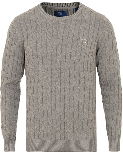 GANT Cotton Cable Crew Neck Dark Grey i gruppen Klær / Gensere / Strikkede gensere hos Care of Carl (15207411r)