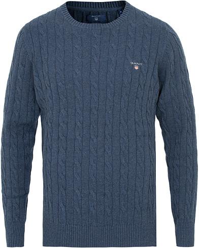 GANT Cotton Cable Crew Neck Dark Jeans Blue i gruppen Tøj / Trøjer / Strikkede trøjer hos Care of Carl (15207611r)