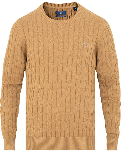 GANT Cotton Cable Crew Neck Dark Sand Melange i gruppen Tøj / Trøjer / Strikkede trøjer hos Care of Carl (15207711r)