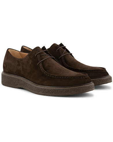 Tod's Norwegian Welted Crepe Sole Derby Brown Suede i gruppen Sko / Derbys hos Care of Carl (15265411r)