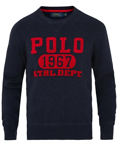 Polo Ralph Lauren Cotton Slub Crew Neck Hunter Navy i gruppen Klær / Gensere / Strikkede gensere hos Care of Carl (15271411r)