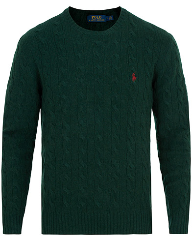 Polo Ralph Lauren Wool/Cashmere Cable Crew Neck College Green i gruppen Klær / Gensere / Strikkede gensere hos Care of Carl (15272011r)