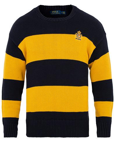 Polo Ralph Lauren Cotton Crest Barstripe Crew Neck Gold/Navy i gruppen Klær / Gensere / Strikkede gensere hos Care of Carl (15272211r)