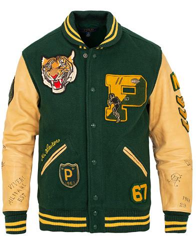 Polo Ralph Lauren Letterman Varsity Leather Jacket College Green i gruppen Klær / Jakker / Bomberjakker hos Care of Carl (15278211r)