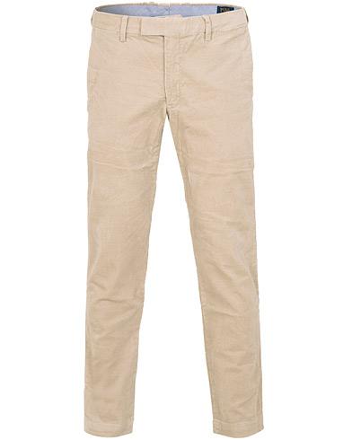 Polo Ralph Lauren Hudson Slim Fit Corduroy Trousers Stone Grey i gruppen Klær / Bukser / Cordfløyelbukse hos Care of Carl (15281211r)
