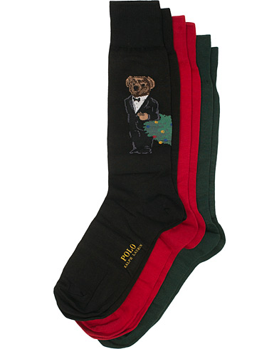Polo Ralph Lauren 3-Pack Bear Sock Green/Black/Red  i gruppen Kläder / Underkläder / Strumpor hos Care of Carl (15290110)