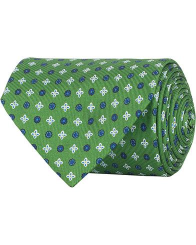 E. Marinella 3-Fold Printed Heritage Symbol Silk Tie 8 Cm Grass Green  i gruppen Assesoarer / Slips hos Care of Carl (15304010)