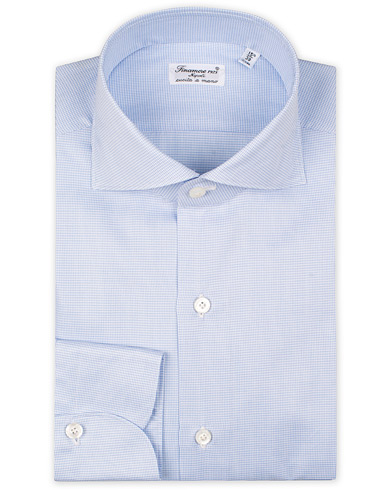 Finamore Napoli Milano Slim Fit Twill Micro Fancy Shirt Light Blue i gruppen Klær / Skjorter / Formelle / Businesskjorter hos Care of Carl (15321611r)