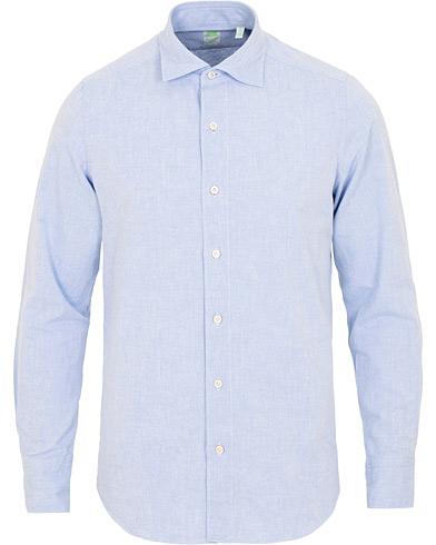 Finamore Napoli Tokyo Slim Fit Winter Chambray Shirt Light Blue i gruppen Klær / Skjorter / Casual / Casual skjorter hos Care of Carl (15322111r)