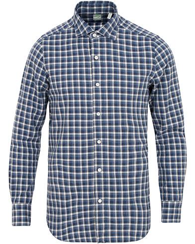 Finamore Napoli Tokyo Slim Fit Checked Flannel Shirt Blue/White i gruppen Kläder / Skjortor / Casual / Flanellskjortor hos Care of Carl (15322511r)