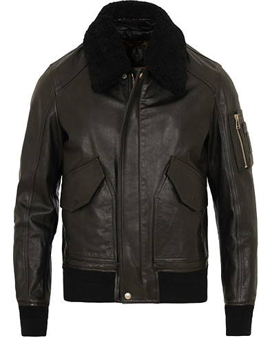 Belstaff Arne Shearling Aviator Leather Jacket Black i gruppen Kläder / Jackor / Skinnjackor hos Care of Carl (15341811r)