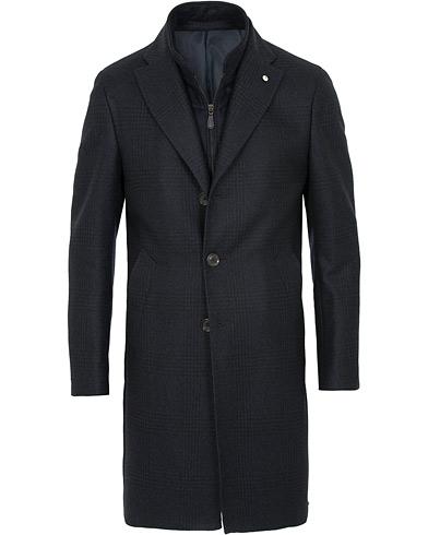 L.B.M. 1911 Checked Wool Inner Zip Coat Navy i gruppen Kläder / Jackor / Rockar hos Care of Carl (15361611r)