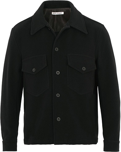 Our Legacy Loan Shirt Jacket Black Melton i gruppen Klær / Skjorter / Casual / Overshirts hos Care of Carl (15414211r)