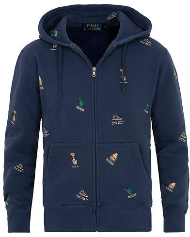 Polo Ralph Lauren Full Zip Bear Hoodie Newport Navy i gruppen Klær / Gensere / Hettegensere hos Care of Carl (15428111r)