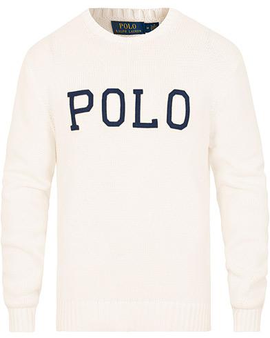 Polo Ralph Lauren Crisby Cotton Logo Crew Neck White i gruppen Klær / Gensere / Strikkede gensere hos Care of Carl (15430311r)