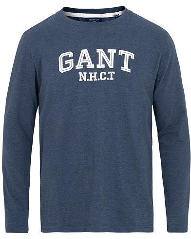 GANT Logo Long Sleeve Crew Neck Tee Marine Melange i gruppen Tøj / T-Shirts / Langærmede t-shirts hos Care of Carl (15448011r)