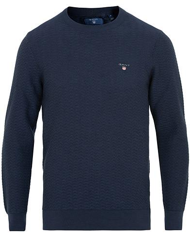 GANT Herringbone Textured Crew Neck Marine i gruppen Kläder / Tröjor / Stickade tröjor hos Care of Carl (15448111r)