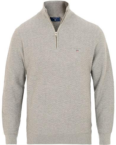 GANT Herringbone Textured Half Zip Grey Melange i gruppen Klær / Gensere / Zip-gensere hos Care of Carl (15448411r)