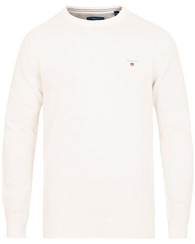 GANT Cotton/Pique Crew Neck Eggshell i gruppen Kläder / Tröjor / Stickade tröjor hos Care of Carl (15448611r)