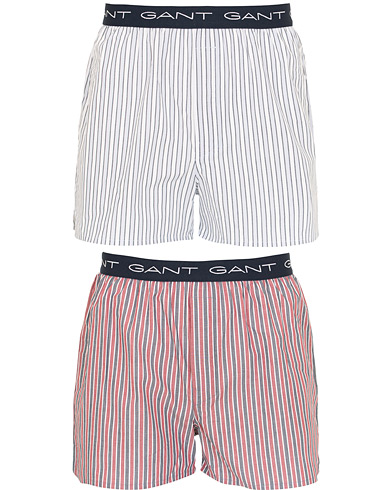 GANT 2-Pack Woven Boxer Stripe Blue/Red i gruppen Tøj / Undertøj / Boxershorts hos Care of Carl (15450211r)
