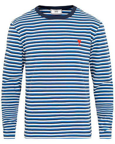 AMI Striped Long Sleeve Tee Blue/White i gruppen Kläder / T-Shirts / Långärmade t-shirts hos Care of Carl (15454311r)