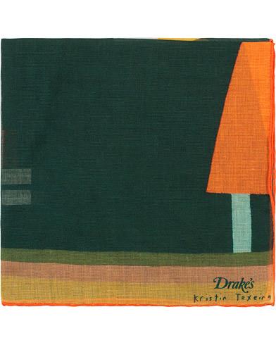 Drake's Kristin Texeira Pocket Square Green  i gruppen Tilbehør / Lommeklude hos Care of Carl (15457910)
