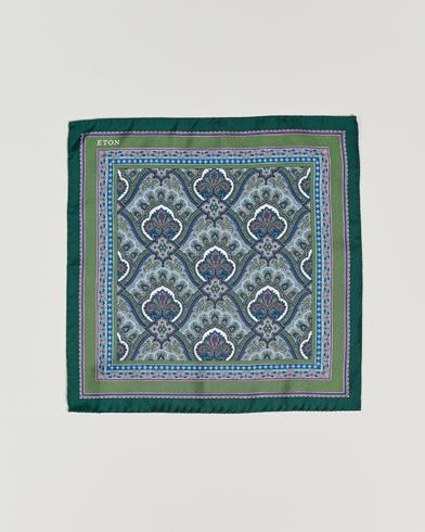 Eton Silk Paisley Print Pocket Square Green  i gruppen Tilbehør / Lommeklude hos Care of Carl (15458810)