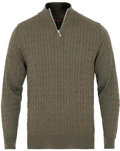 Stenströms Merino Wool Cable Half Zip Green i gruppen Klær / Gensere / Zip-gensere hos Care of Carl (15472911r)