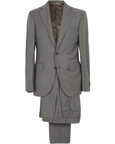 Canali Capri Wool Shark Skin Suit Grey i gruppen Kläder / Kostymer / Tvådelade kostymer hos Care of Carl (15486511r)